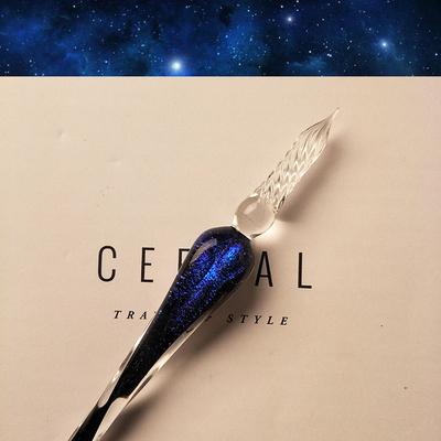 おしゃれ エレガント 流星風 硝子ペン 文房具 筆記具 テレビで話題 ラメ入り ガラスペン キラキラ ブルー 正規激安 宇宙空間を流れる彗星風 インテリア