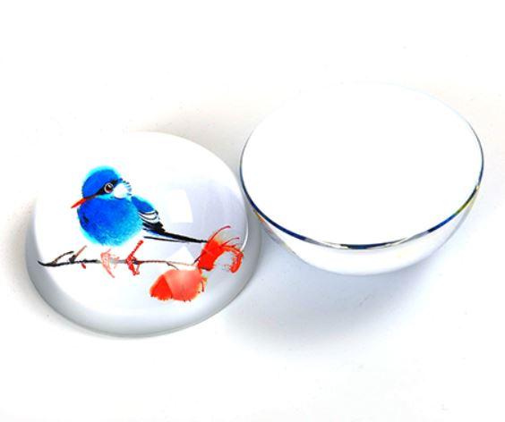 置物 ペーパーウェイト ぽってりとした青い小鳥 半円型 ガラス製