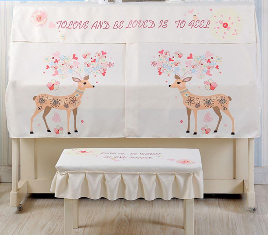 ピアノカバー イスカバー セット お花模様のシカ フリル付き椅子カバー