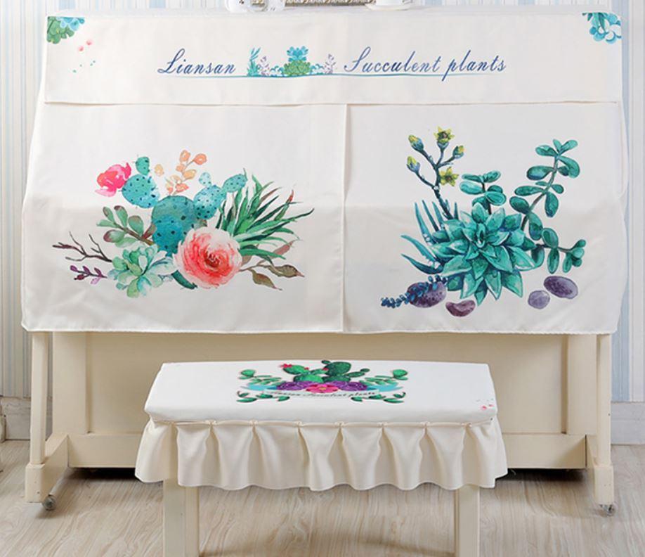 ピアノカバー イスカバー セット フリル付き椅子カバー (お花とサボテン)