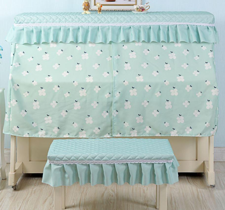 ピアノカバー イスカバー セット パステルカラーのフラワー柄 フリル付き椅子カバー (グリーン)