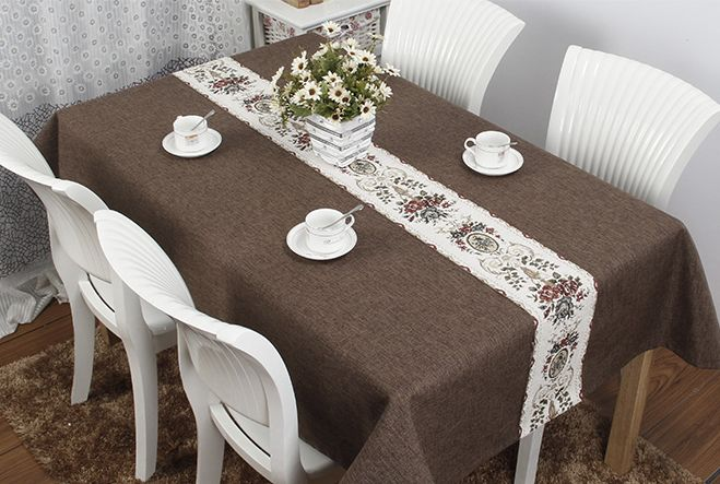 テーブルクロス シェニール織風のテーブルランナー フラワー柄 一体型 エレガント ブラウン系 (長方形B 140×200cm)