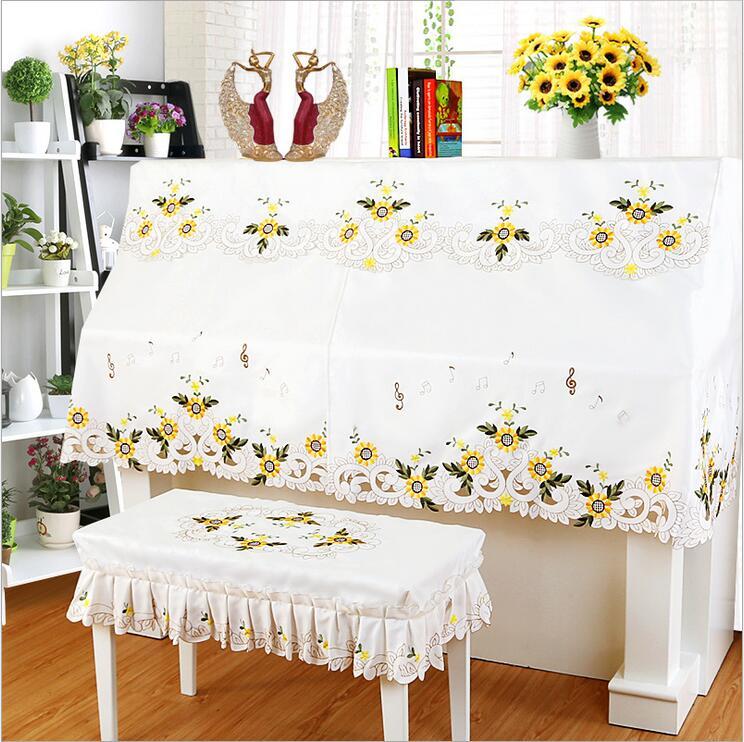 ピアノカバー イスカバー セット 黄色のフラワー柄 刺繍 レース フリル付き椅子カバー