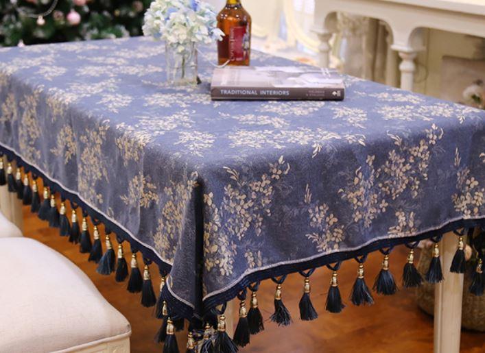 テーブルクロス ヨーロピアンアンティーク風 タッセル付き リバーシブル ブルー (長方形A 130×180cm)