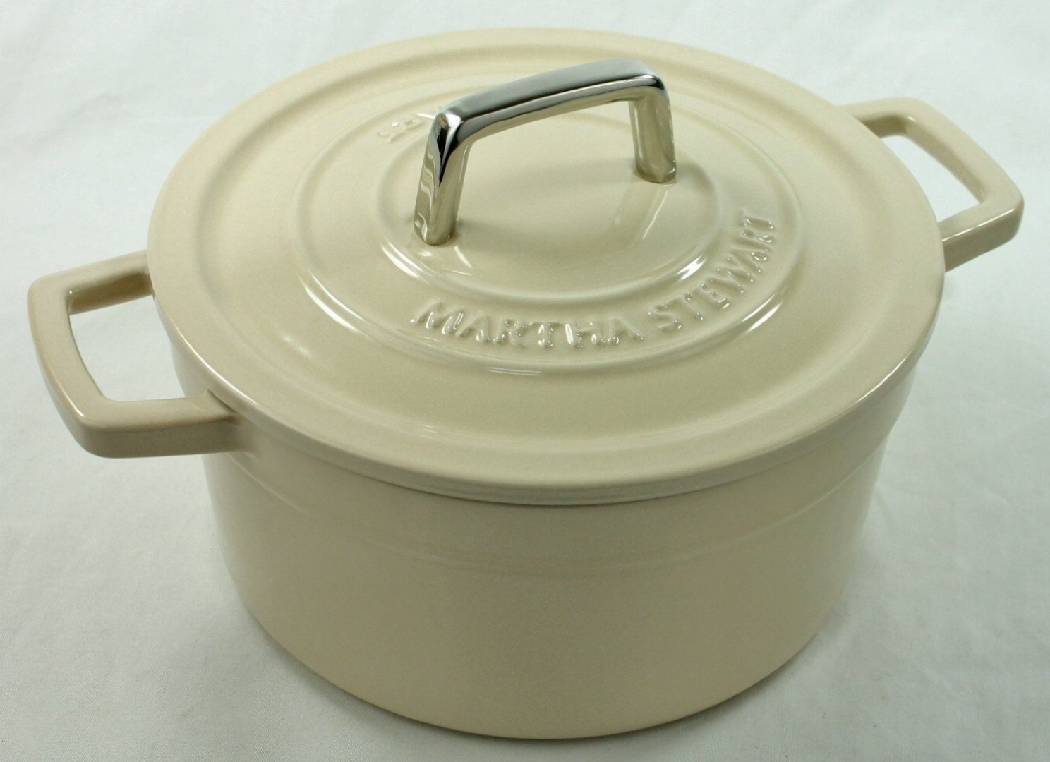 【並行輸入品】マーサ・スチュワートコレクション エナメル 鋳鉄 丸型 キャセロール 3Qt (アイボリー)