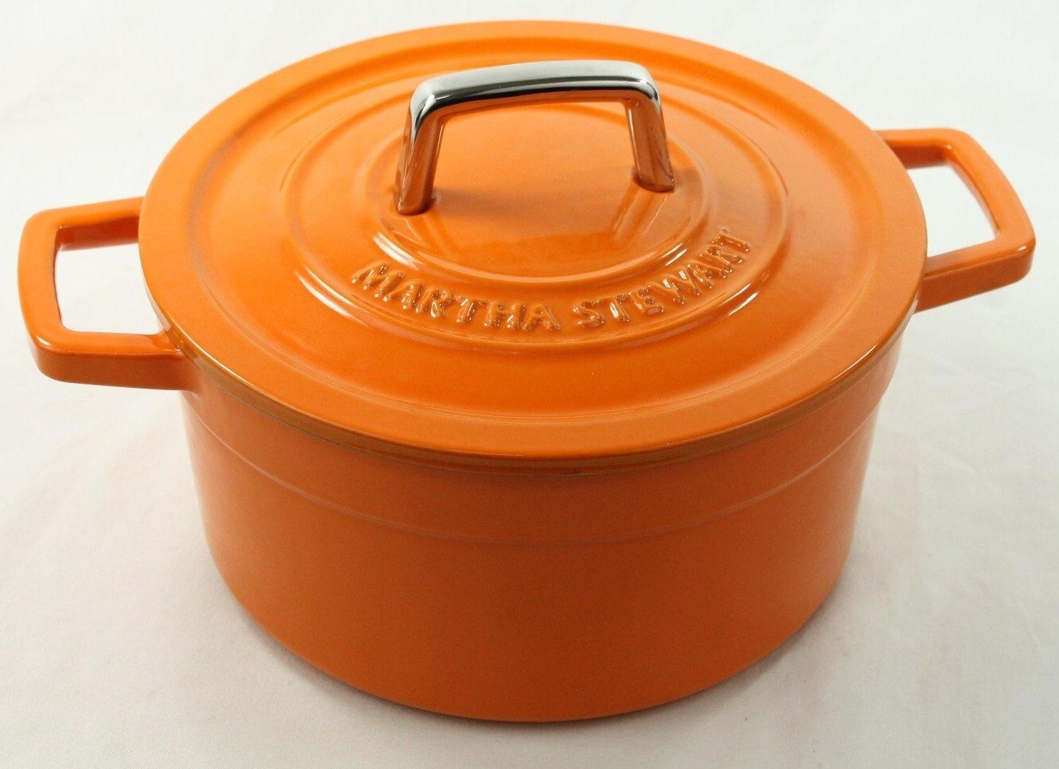 【並行輸入品】マーサ・スチュワートコレクション エナメル 鋳鉄 丸型 キャセロール 3Qt (オレンジ)