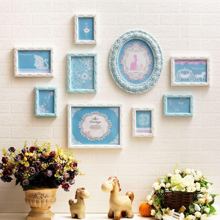 9個セット エレガント (ホワイト×ブルー) 彫刻風 オーナメント柄 フォトフレーム ヨーロピアン調
