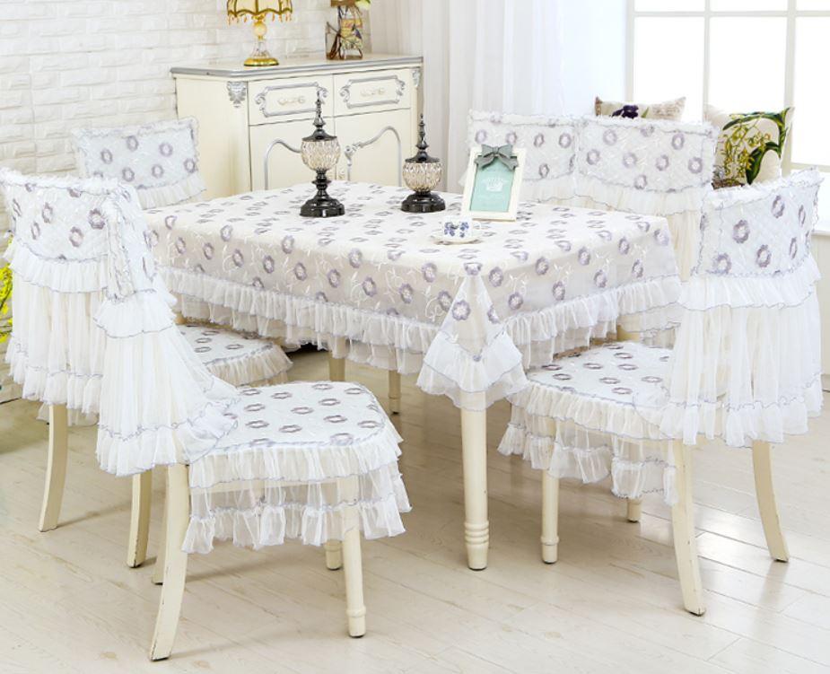 テーブルクロス 椅子カバー セット フリル 刺繍 ヨーロピアン風 エレガント 6脚用 (ホワイト×小花)