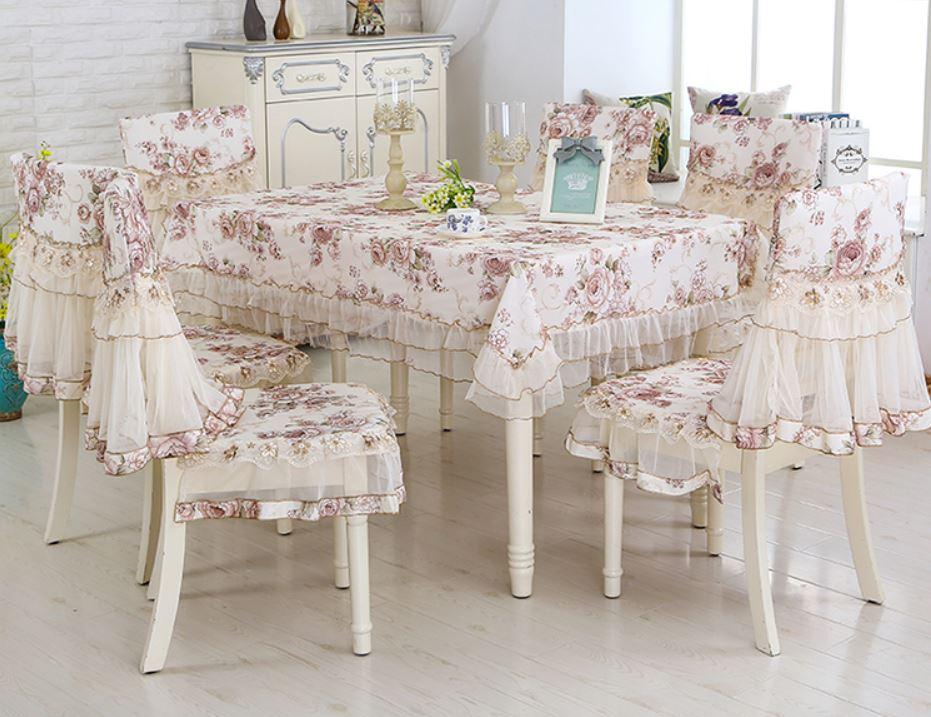 テーブルクロス 椅子カバー セット フリル 刺繍 ヨーロピアン風 エレガント 6脚用 (ホワイト×フラワー)