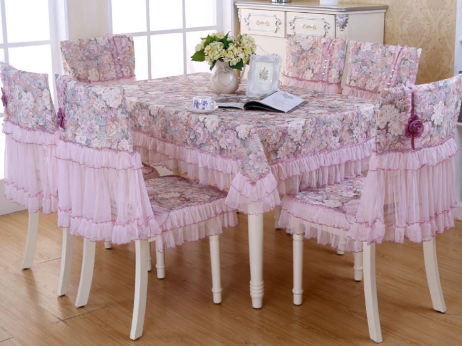 テーブルクロス 椅子カバー セット フリル ヨーロピアン風 エレガント 6脚用 パープル×フラワー