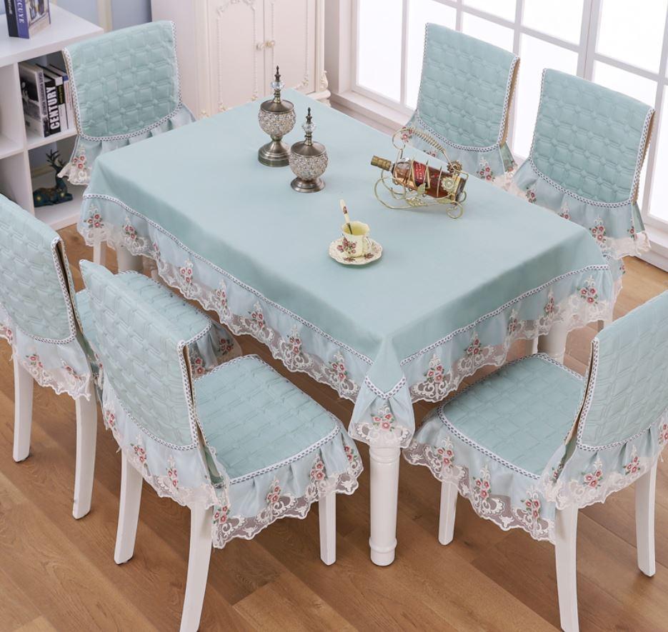 テーブルクロス 椅子カバー セット レース 花模様 型押し風 クラシカル 6脚用 (グリーン)