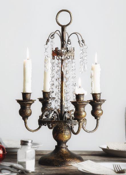 キャンドルホルダー 流れ落ちるダイヤ風装飾付き ヨーロピアンアンティーク風 4本タイプ
