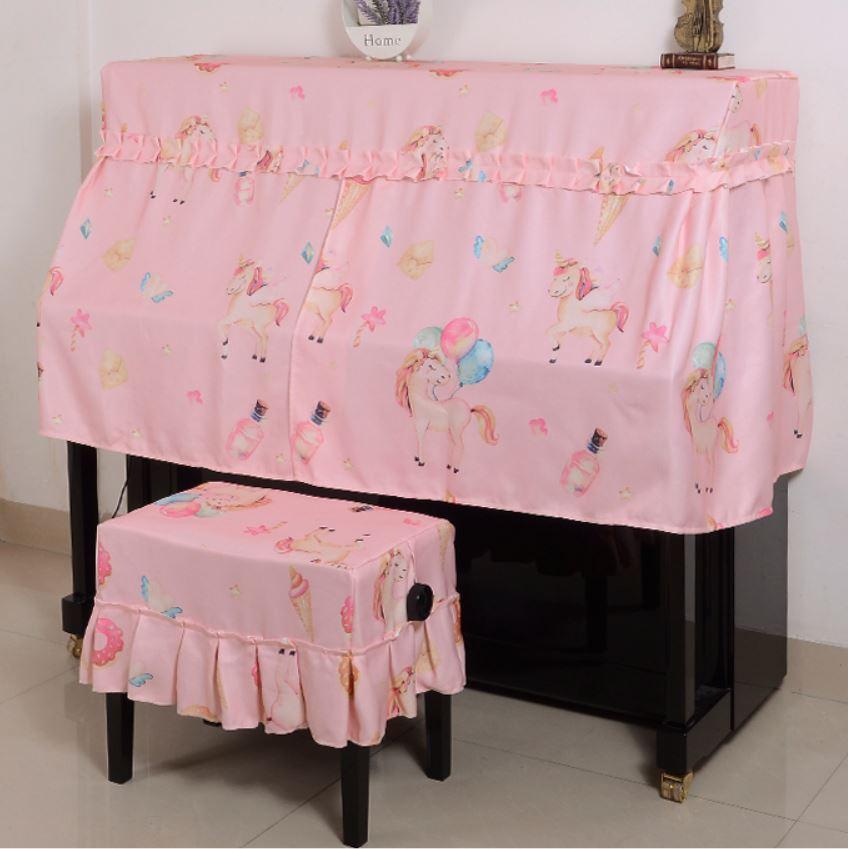 ピアノカバー イスカバー セット ユニコーン メルヘン風 フリル付き椅子カバー (ピンク)