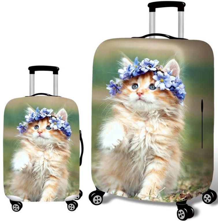おしゃれでキュートなラゲッジカバー キャリーケースカバー テレビで話題 ネコ スーツケースカバー 花の冠をかぶった猫ちゃん 写真 内祝い プリント L 送料無料