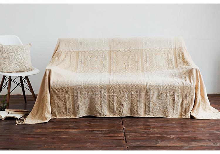 マルチカバー ソファカバー 民族調のフラワー柄 ネパール風 フリンジ付き (ベージュ系, 大)