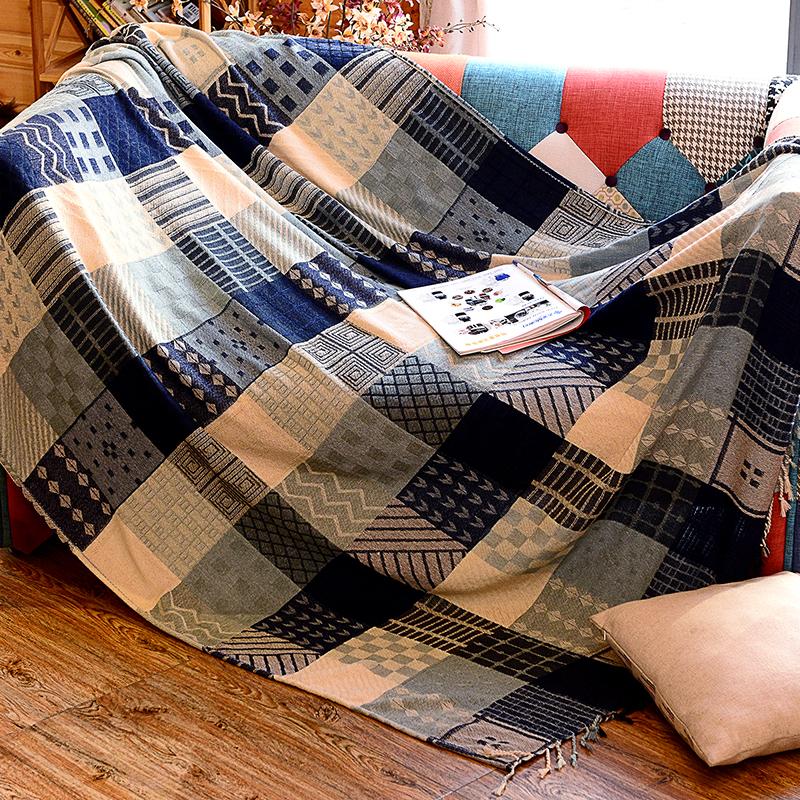 マルチカバー ソファカバー 幾何学模様の四角形 パターン柄 北欧風 フリンジ付き (大)