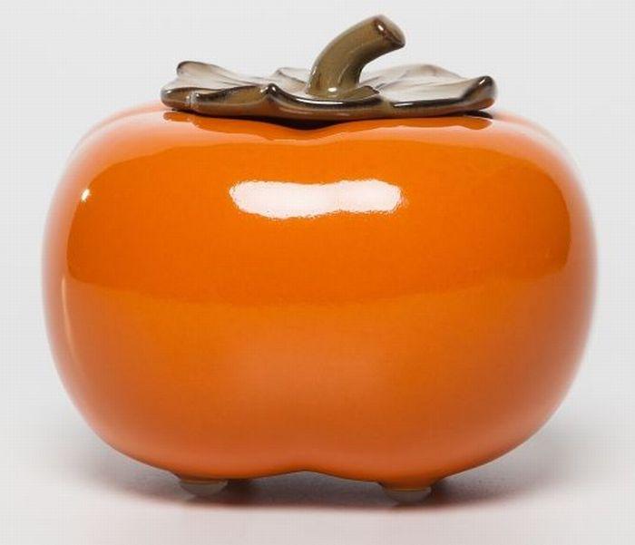 灰皿 小物入れ 柿モチーフ リアル 果物 ヘタの蓋付き