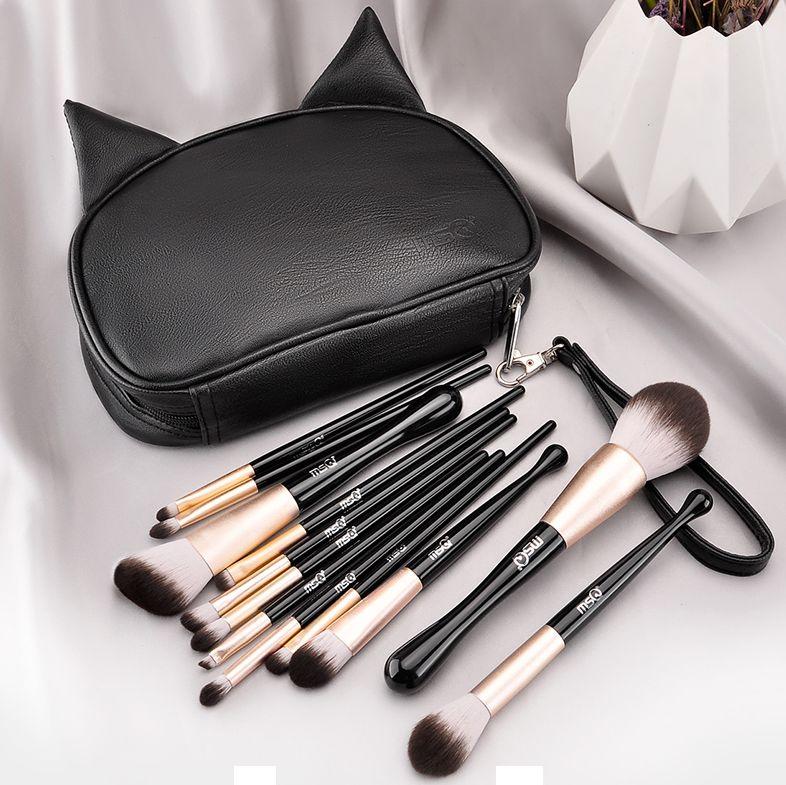 メイクブラシ 化粧筆 12本セット 黒猫ポーチ付き クラッチタイプ