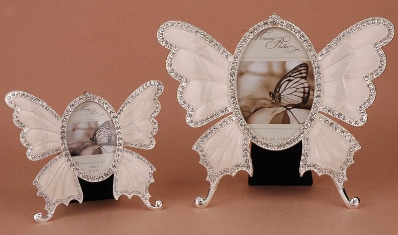 殿堂 フォトフレーム バタフライ ちょうちょ ダイヤ風装飾 キラキラ (ホワイト, 大小2個セット), ネットショップむつみ屋 4f7a5ebf