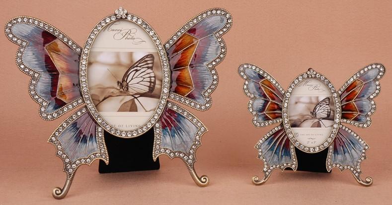 格安販売中 フォトフレーム バタフライ ちょうちょ ダイヤ風装飾 キラキラ (カラフル, 大小2個セット), 調理用品のキッチンよろず 3861a62d