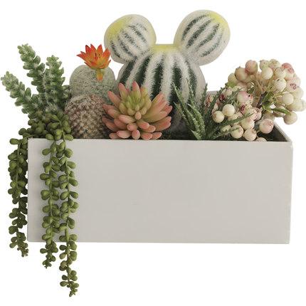 壁掛けオブジェ フェイクグリーン リアルなサボテンと多肉植物 植木鉢入り (ホワイト 大)