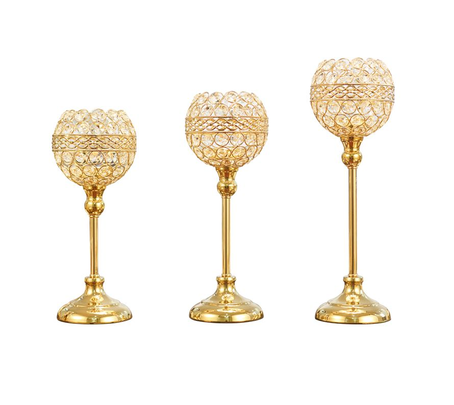 キャンドルホルダー ワイングラス風 クリスタル装飾 キラキラ (ゴールド, 大中小3個セット)