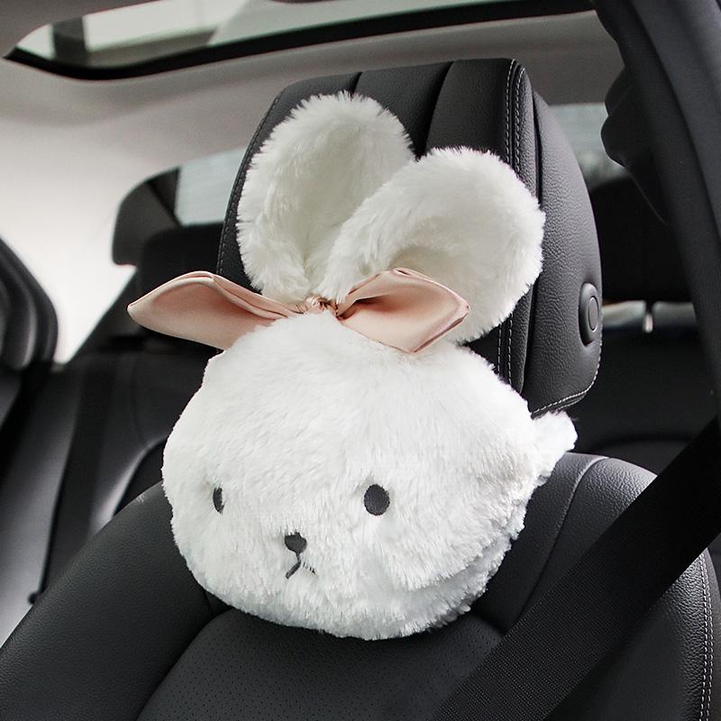 おしゃれでかわいいネックピロー 車用 安全 キュート カーインテリア ネッククッション モコモコ オリジナル ウサギの顔 大きなリボン ホワイト