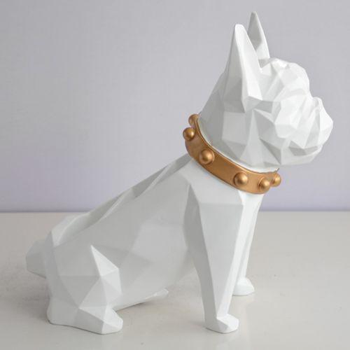 リモコンラック 小物入れ ブルドッグ 犬 多面カット アート風 バイカラー スタイリッシュ (ホワイト)