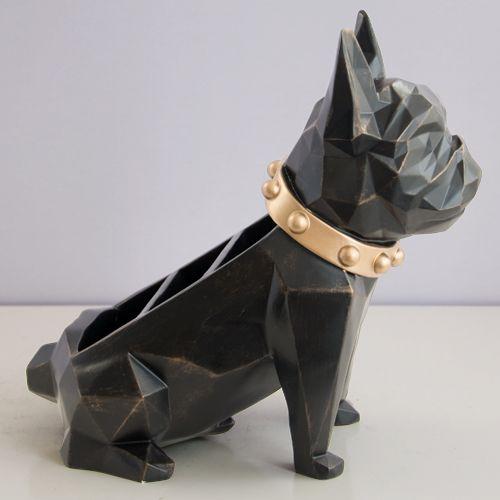 リモコンラック 小物入れ ブルドッグ 犬 多面カット アート風 バイカラー スタイリッシュ (ブラック)