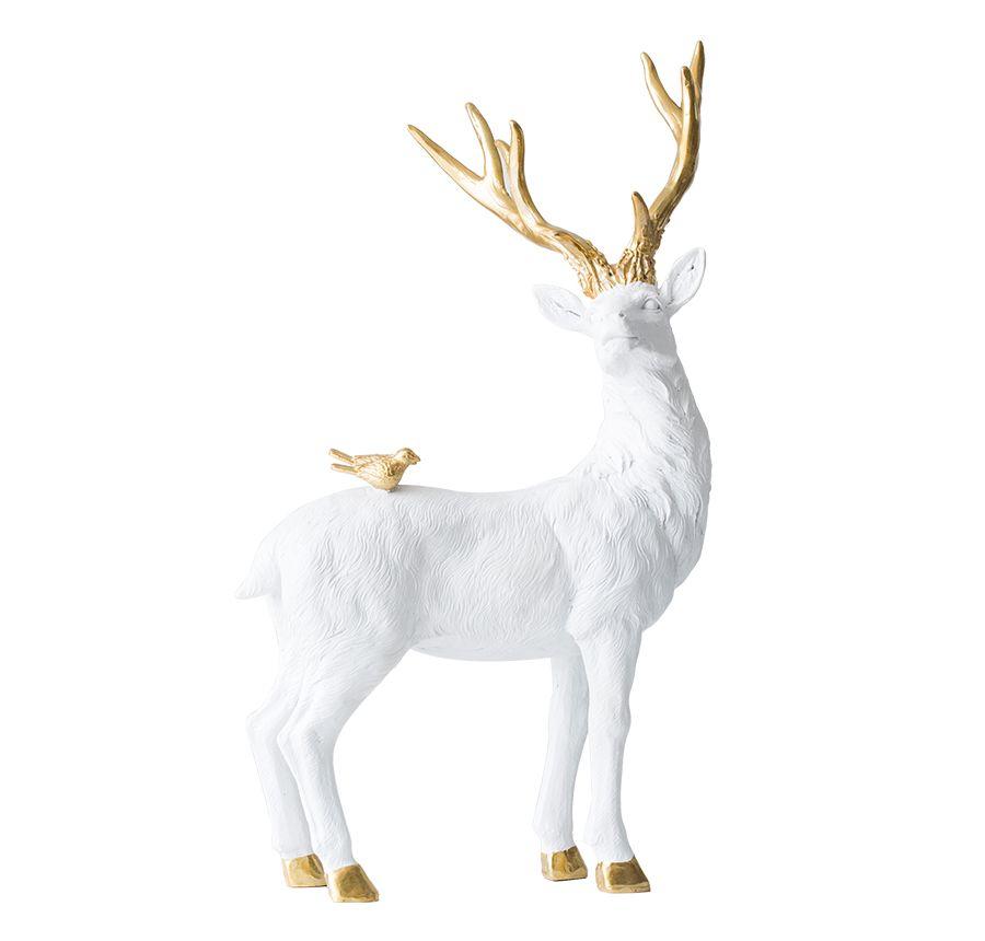 置物 鹿と背中に乗った鳥さん ゴールドの角と蹄 リアルな毛並み 北欧風 (立ち姿)