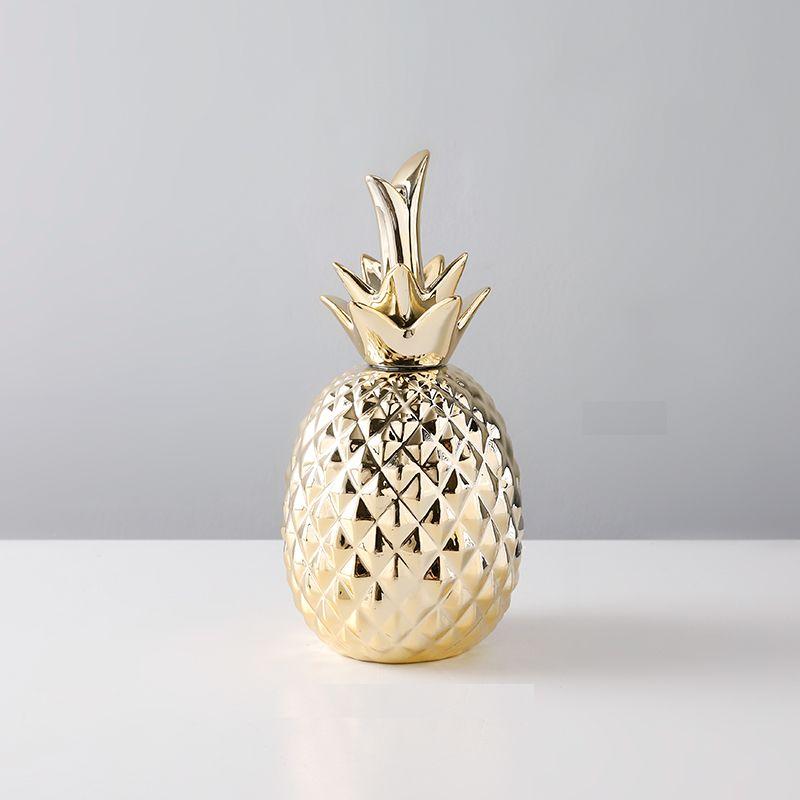 置物 パイナップル 長く伸びた葉 落ち着いた雰囲気 陶器製 (ゴールド):モノッコ