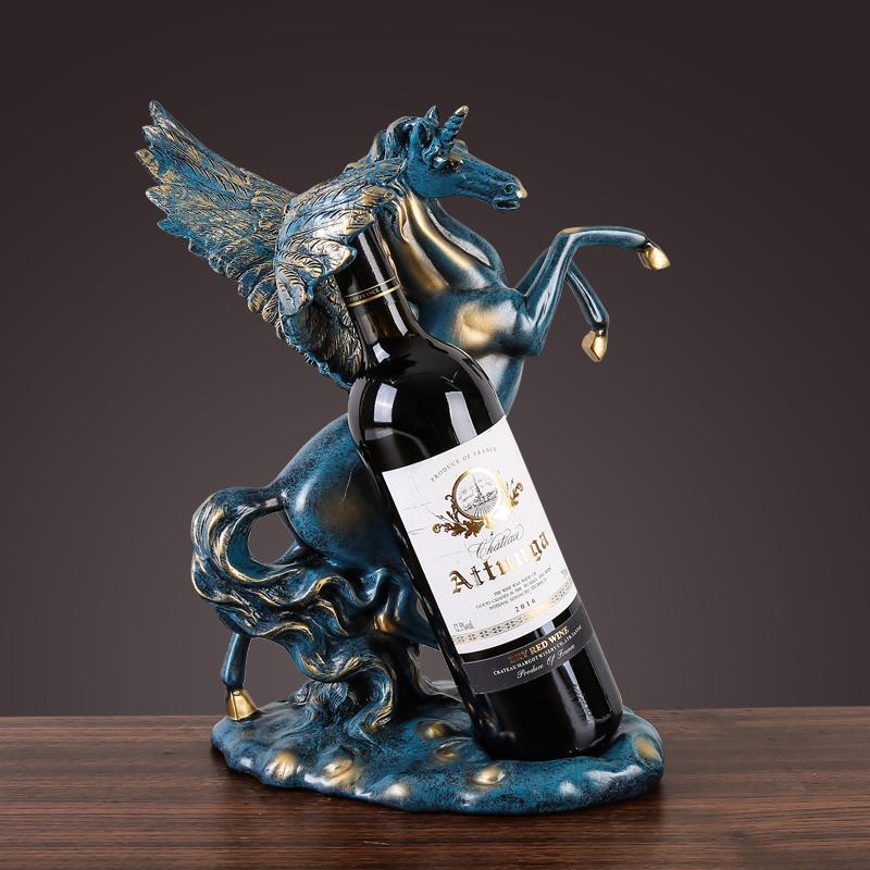 ワインボトルホルダー ペガサス 立ち馬 ヨーロピアンアンティーク風 躍動感 エレガント (ブルー)