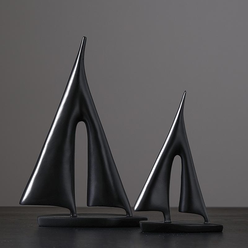 置物 ヨット 帆船 モダンアート風デザイン シンプル シック (ブラック×大小,2個セット)