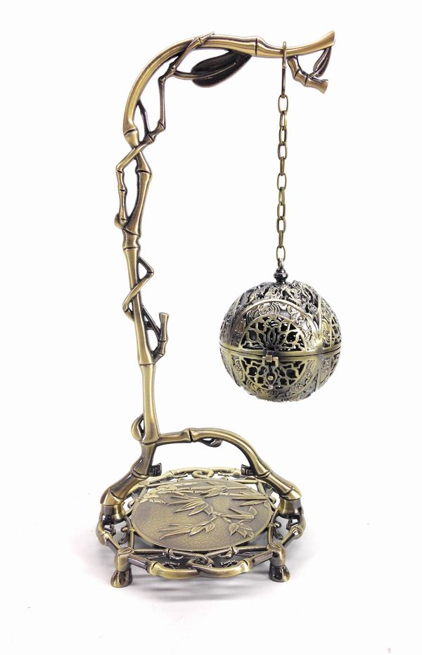 置物 吊り下げ式 球体 竹モチーフの吊り下げ台 アンティーク風 鉄製
