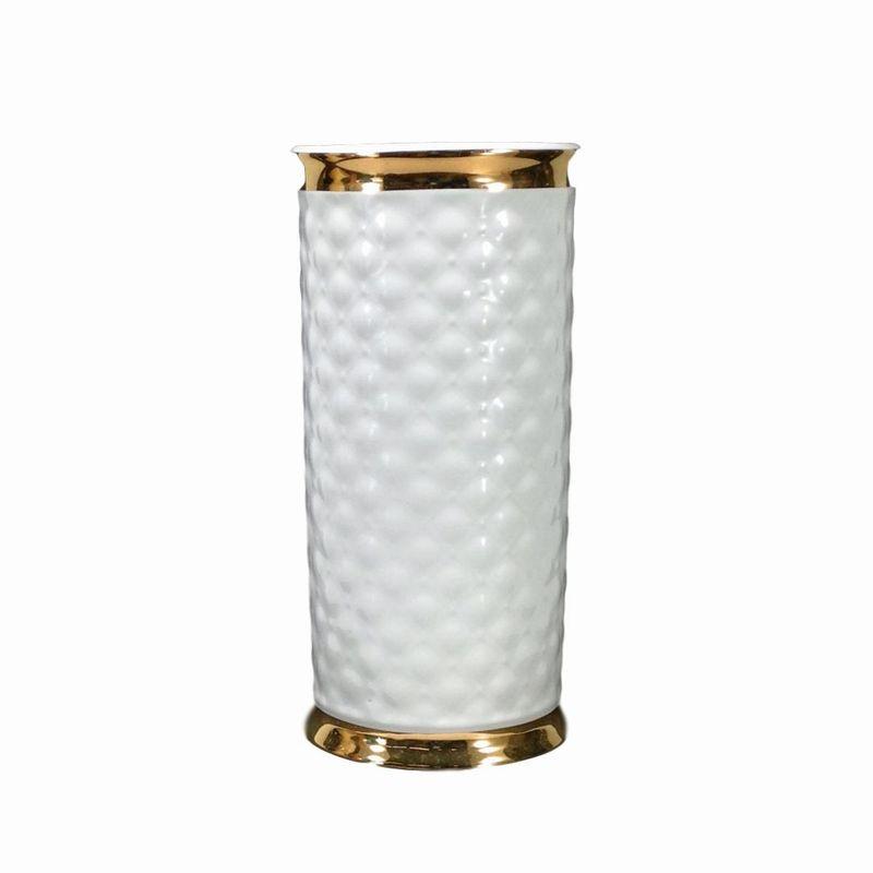 おしゃれ シンプル 新色 花瓶 花器 造花 生花 ホワイト×ゴールド リビング エレガントデザイン ラッピング無料 インテリア 陶器製 フラワーベース