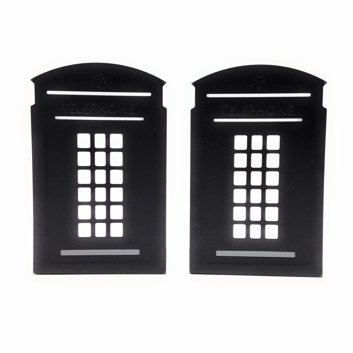 おしゃれ かわいい ブックスタンド 買収 本立て 大幅値下げランキング イギリス ブラック ロンドン風 2個セット 電話ボックス風 ブックエンド