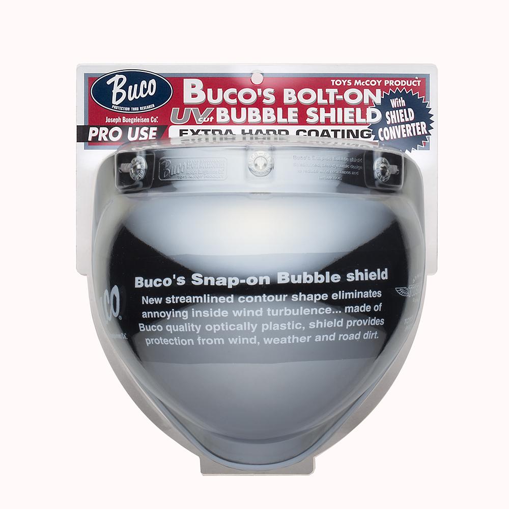 【あす楽★送料無料】BUCO(ブコ)★開閉する ジェットヘルメット用シールド ボルトオンバブルシールド WITH シールドコンバーター (3点ホックタイプ)【カラー:クローム】