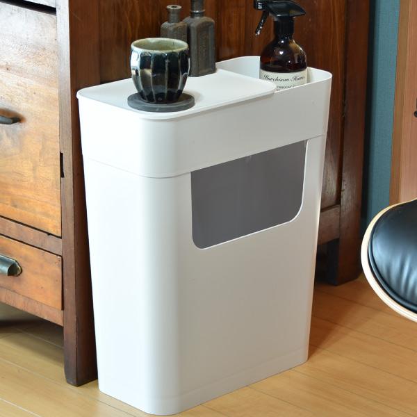 ゴミ箱 おしゃれ サイドテーブル 収納 プラスチック 白 ホワイト 日本製 キャスター付き ごみ箱 ダストボックス スリム キッチン リビング インテリア雑貨 北欧 モノトーン 収納( ENOTS エノッツ サイドワゴン )