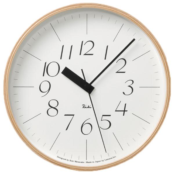 掛け時計 【フック付き】 タカタレムノス Lemnos Riki Clock WR 07-10 掛時計 壁掛け時計 電波時計 おしゃれ インテリア雑貨 北欧 アンティーク調 木製 デザイン リビング ブランド レトロ かわいい 大型 木枠 モダン ムーブメント ウォールクロック