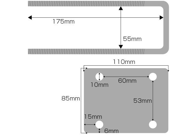 ベランダ固定物干し台用金具_4つ穴6枚長ボルト