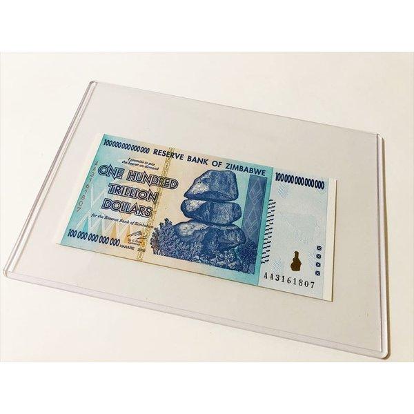 100兆ジンバブエドル ケース入り ハイパーインフレ 紙幣 新品 ピン札 実物 超希少 インテリア 貨幣 お守り プレゼント 金運UP