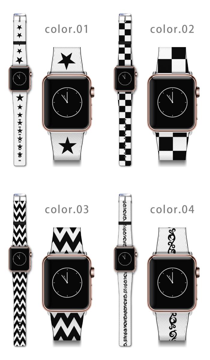Apple watch バンド ベルト アクセサリー  38mm 42mm ラグ付き ジョカーレ・デザイン アップルウォッチ ウオッチ ベルト 大人 おしゃれ 30代 40代 ギフト モノクロ 白黒 シンプル ドット チェック