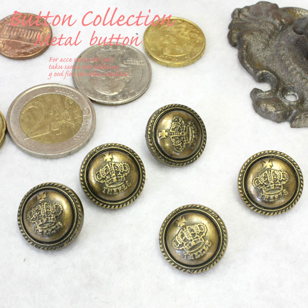 Metal button crest / handicrafts / emblem / jacket / U K -like / hair  rubber / shirt / coat / King / floral design / 業販 / wholesale of the