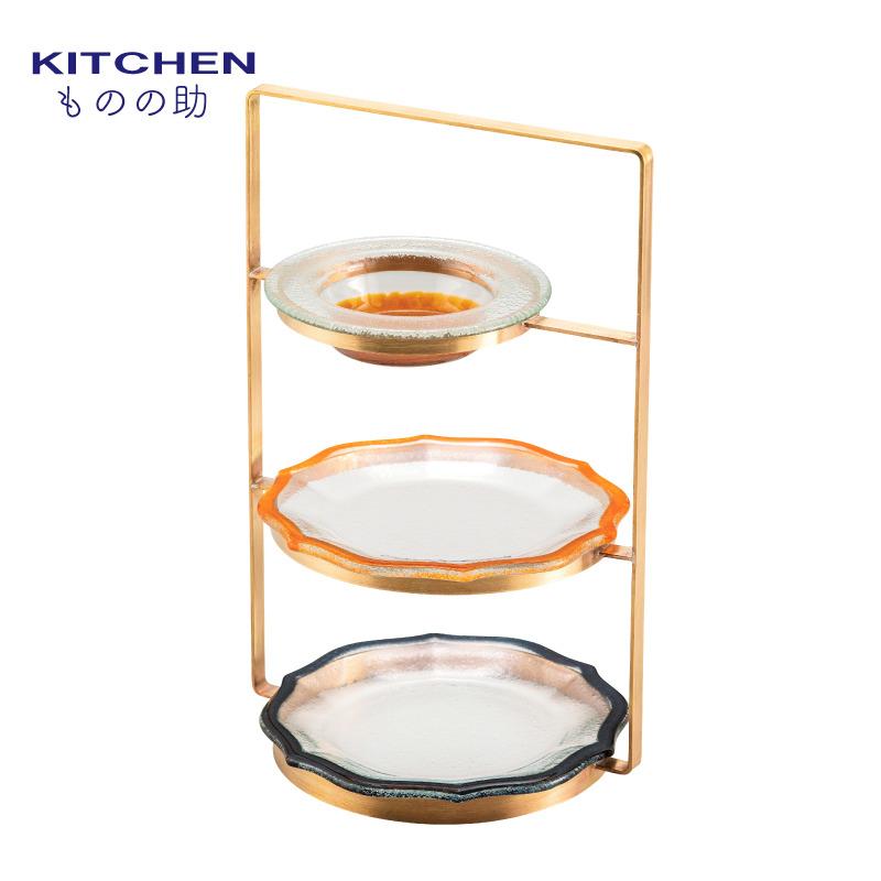 送料無料 アフターヌーンティースタンド 3段 金 真鍮 ガラス皿 セット 茶 栗 オレンジ ブラック ケーキスタンド パーティー 日本製 ハイティースタンド ハイティスタンド