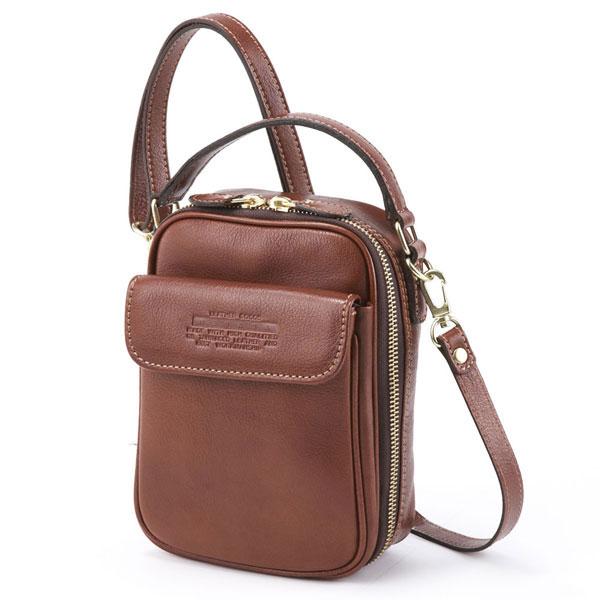 【全商品ポイント10倍】 LuggageAOKI 青木鞄 Lugard NEVADA ラガード ネバダ 2way ミニ ショルダーバッグ 日本製 本革 ブラウン 4965-50