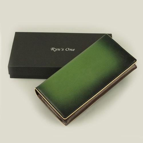 【クーポン配布中】 服部 RYU'S ONE リューズワン GG 牛革製 長財布 グリーン 15-4004-GR