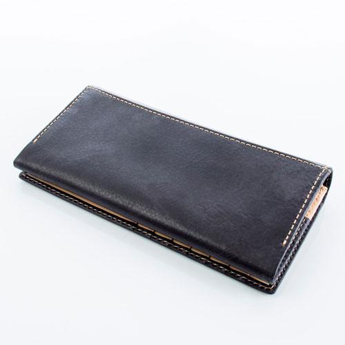 HIDEO WAKAMATSU ヒデオワカマツ セイント2 二つ折り 長財布 ロングウォレット 本革 ブラック 85-80161