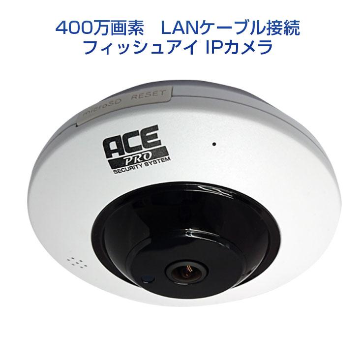 防犯カメラ 【360°を一望できるフィッシュアイ(魚眼レンズ)】 [有線式]IPカメラ 【超高画質 400万画素】《マイク内蔵》監視カメラ ネットワークカメラ 魚眼カメラ 屋内専用 スマホ・PCで遠隔監視 microSD録画 動体検知 赤外線暗視もOK【送料無料】