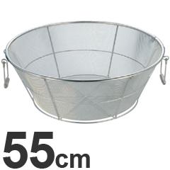弁慶 18-8ステンレス ざる 平底 アルゴン溶接 細目 把手付 55cm HF-68
