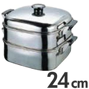 T 18-8ステンレス 角型蒸器 2段 24cm